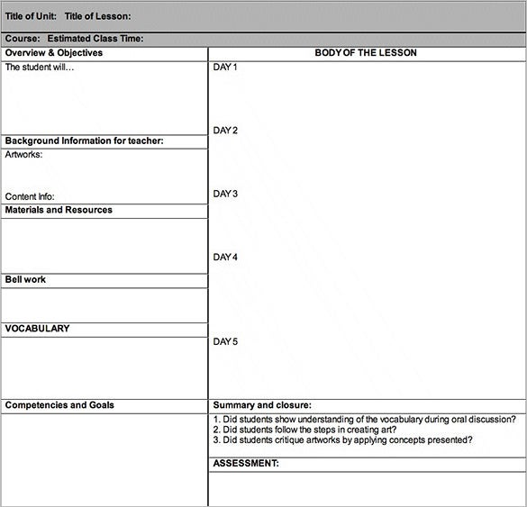 art lesson plan outline template