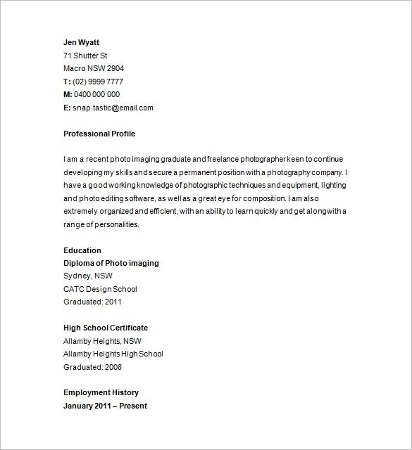 Junior Photographer Resume