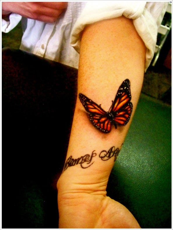 astonishing 3d butterfly tatoo design