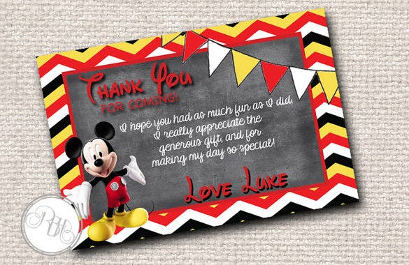 astounishing mickey mouse thank you card