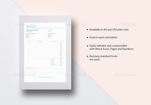 auto repair invoice template1