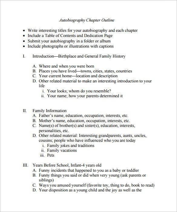 Autobiography Outline Template 8 Free Sample Example Format