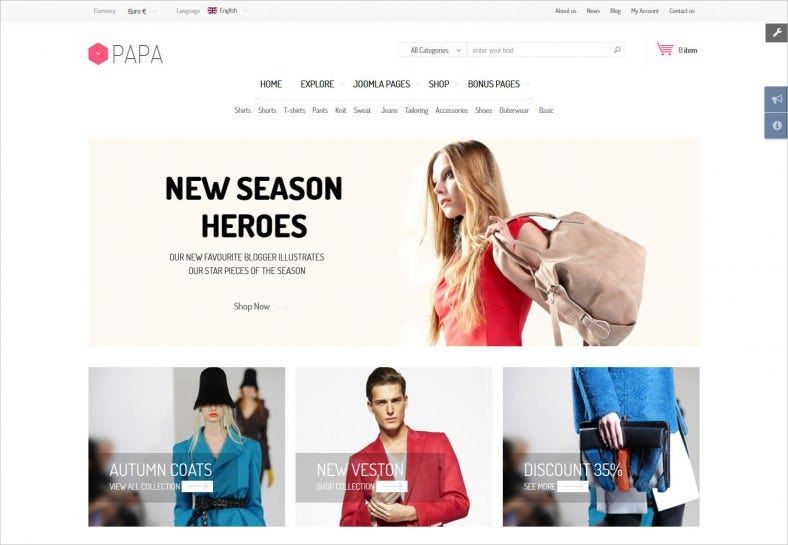 Awesome Shopping Cart Template for eCommerce Sites