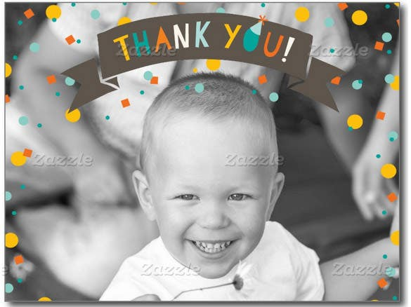 baby boy birthday thank you photo card