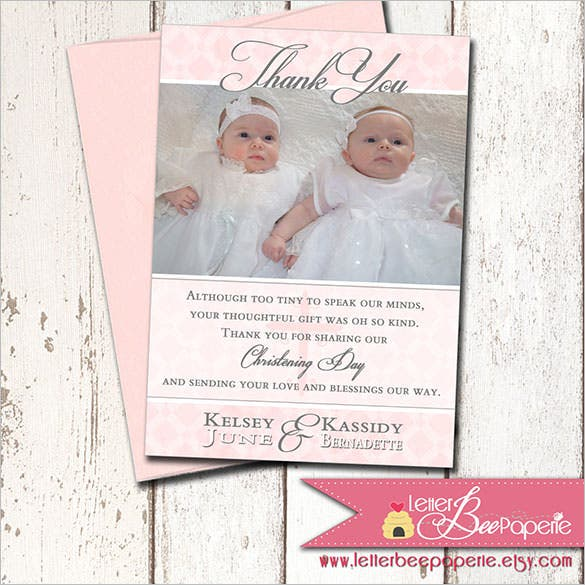 21 christening thank you cards free printable psd eps baby boy christening photo thank you card stopboris Image collections