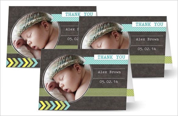 baby photo thank you card printable