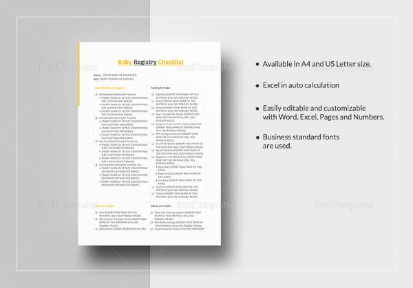 Baby Registry Checklist Template - 13+ Free Word, Excel, PDF Documents Download