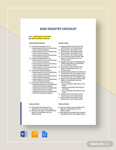 baby registry checklist template1