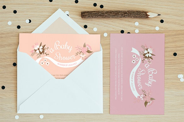 baby shower card envelope ai eps design download