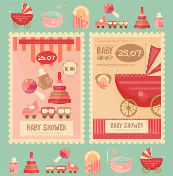 baby shower greeting card illustration