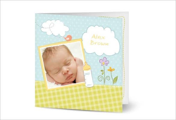 baby thank you card decent design