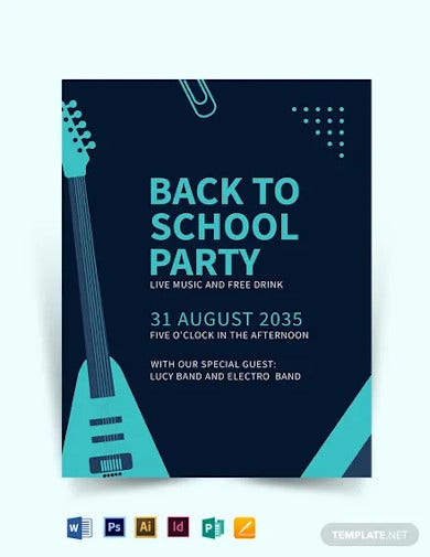 back to school event flyer template