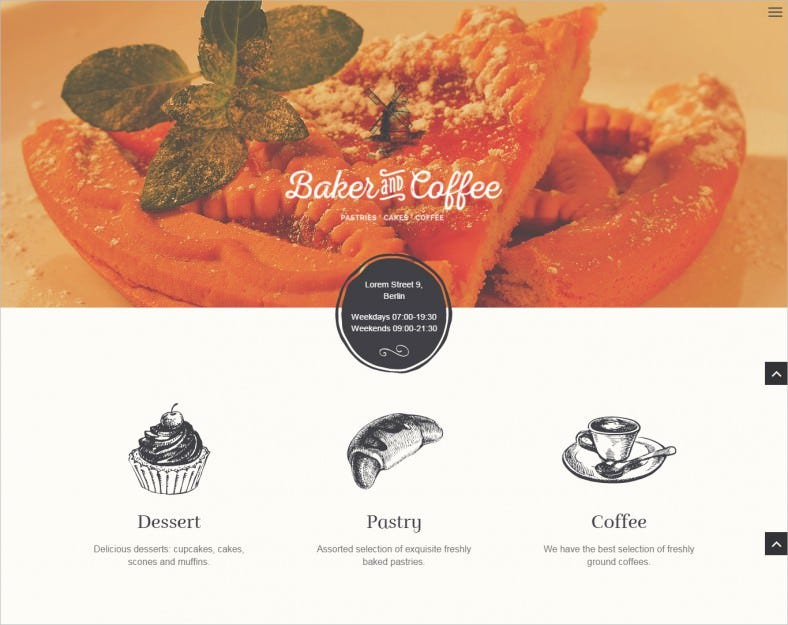 baker coffee html template 788x625