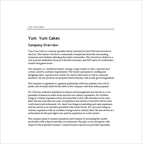 cake business plan sample