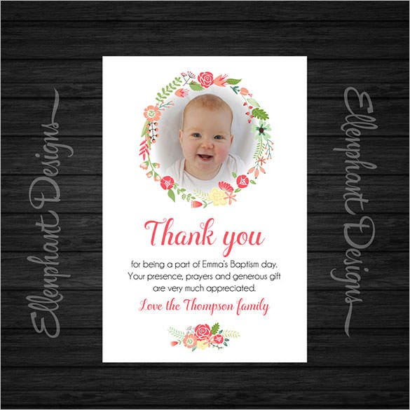 baptism thank you card on chalkboard desing