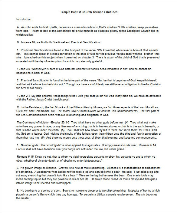 Sermon Outline Template 10 Free Sample Example Format – Ceremonial Speech Example Template
