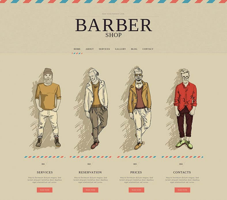 Barber Shop Responsive Website Template