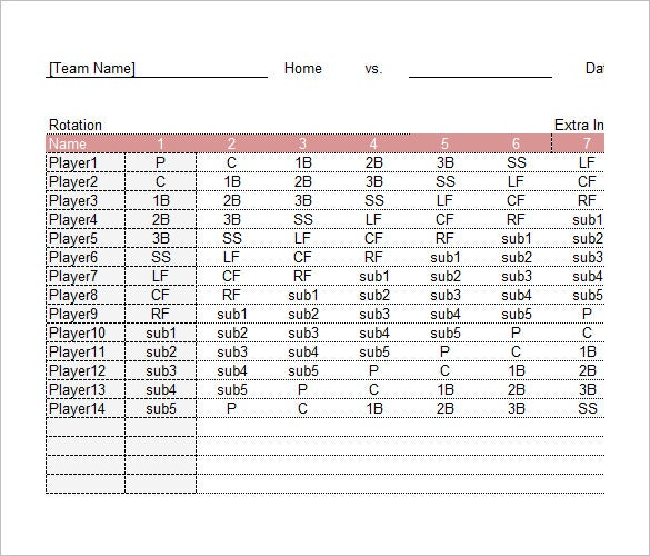 Baseball Lineup Card and Roster Template in Excel Free Download