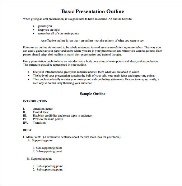 Presentation Outline Template   Free Sample Example Format
