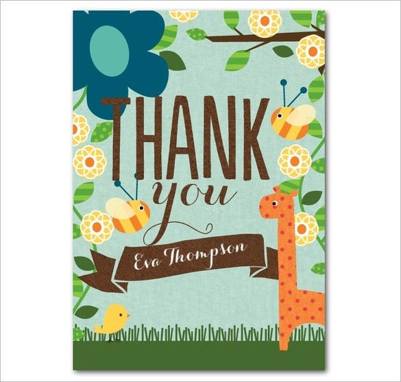 bay folded birthday thank you card template