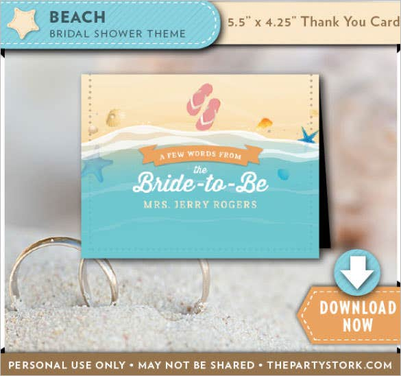 beach bridal shower thank you carde