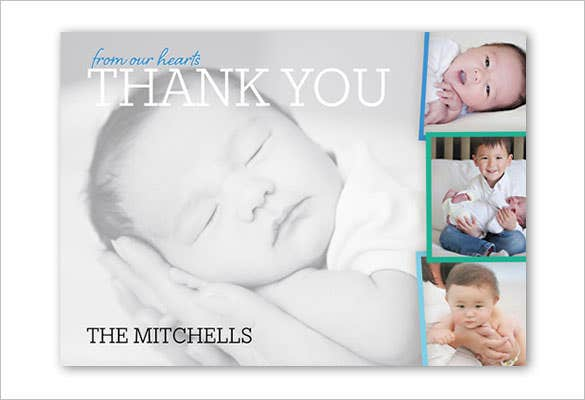 beautiful baby boy thank you card