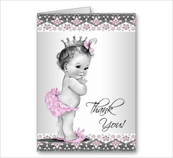 beautiful baby shower thank you card