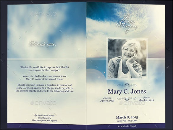 beautiful blue background obituary program template