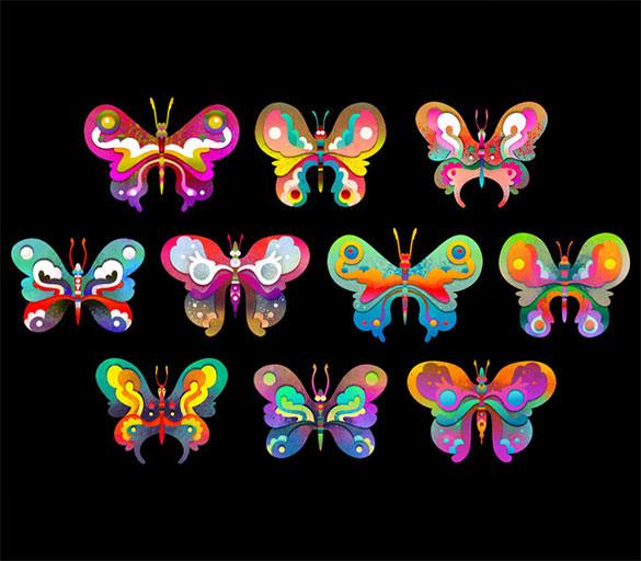 beautiful butterfiles doodle art template