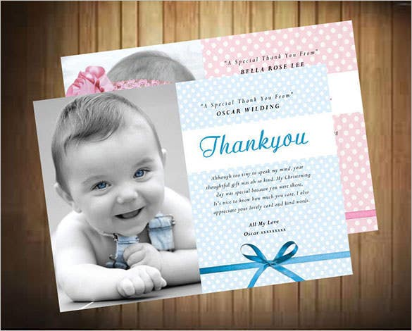 beautiful christening photo thank you card temlpate