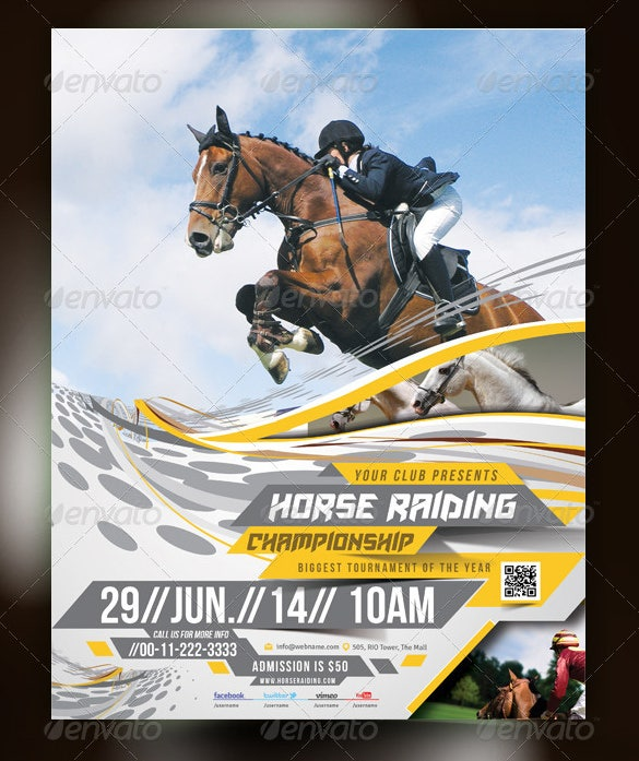 beautiful horse racing flyer template