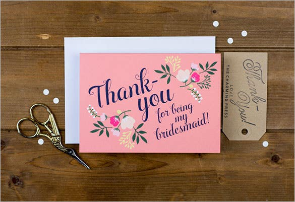 beautiful laid white bridesmaid thank youcard