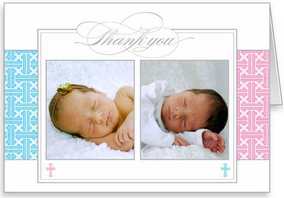 beautiful photo christening thank you card for twins