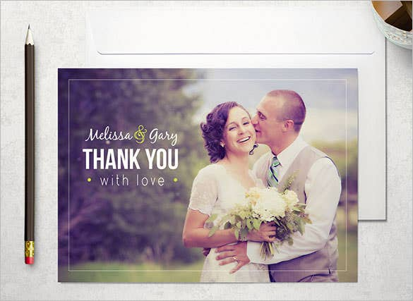 beautiful photo wedding thank you card