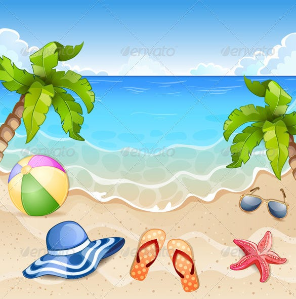 beautiful summer beach illustration