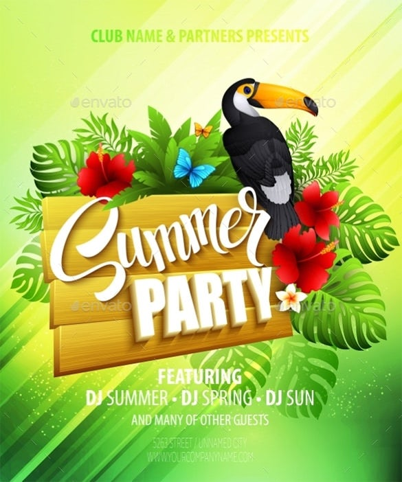 beautiful summer party illustrator template