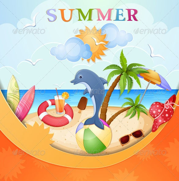 beautifull designed summer beach illustration