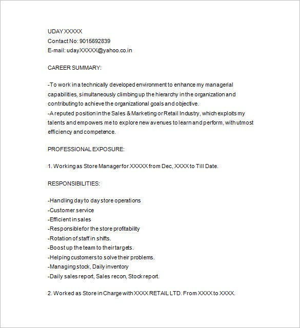 best retail resume format download