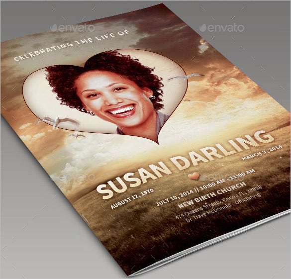bi fold american obituary program design