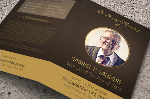 bi fold father obituary program template