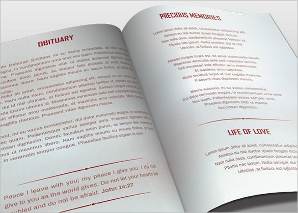 bi fold obituary program psd template