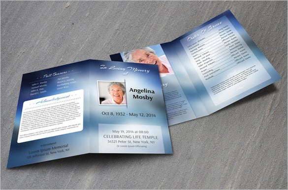 bifold obituary program template download