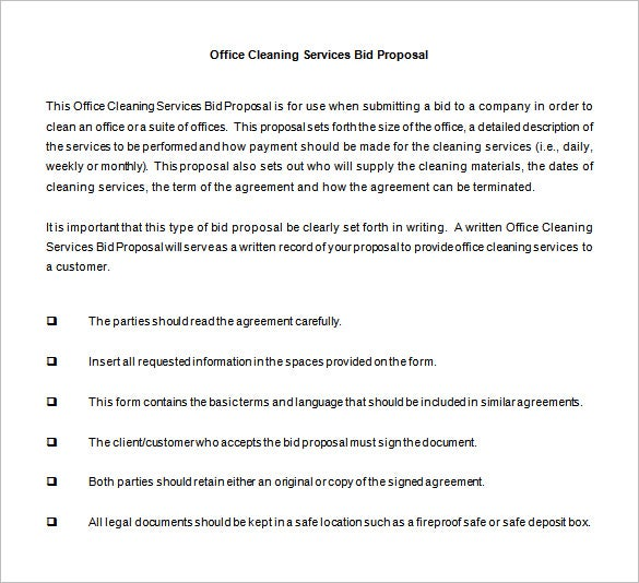 bid proposal for cleaning services word1