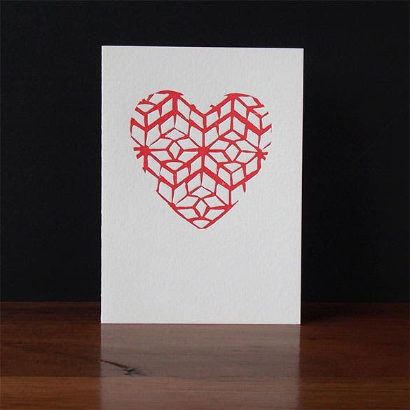 big hearted valentines letterpress gift card template