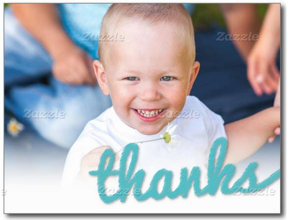 big sketch baby boy birthday thank you photo card