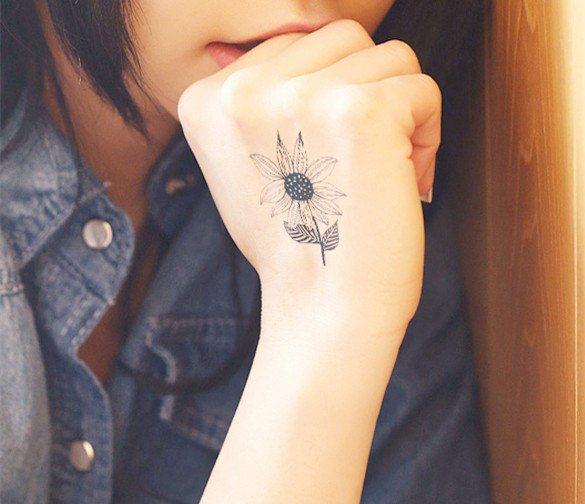big sunflower body tattoo1
