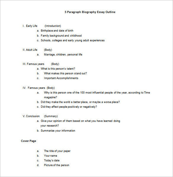 Biography Essay Template Biography Outline Template  Free Sample