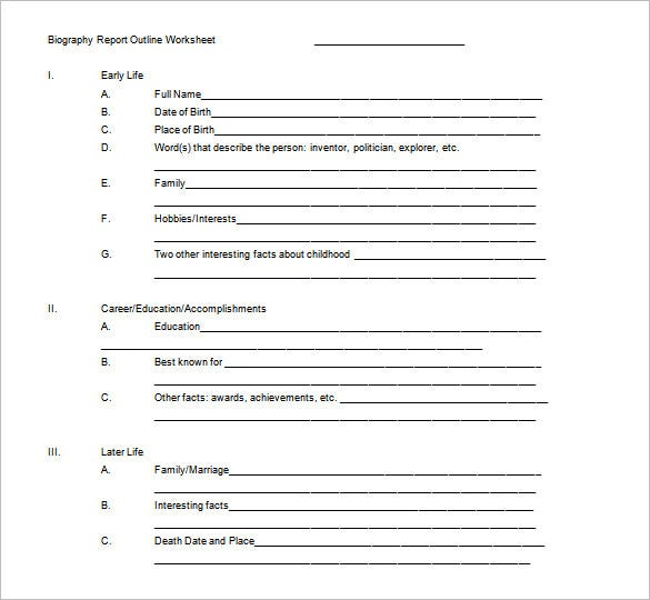 Biography Outline Template – 10+ Free Sample, Example, Format