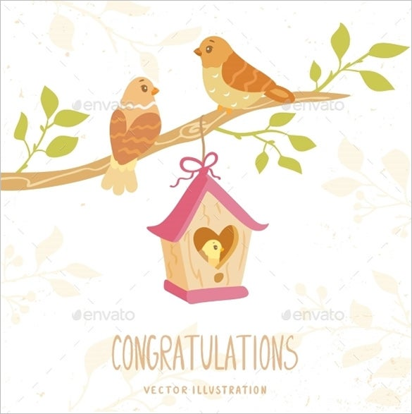 birds family congratulation card template