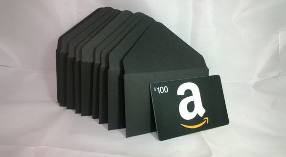 black coloured gift card envelope
